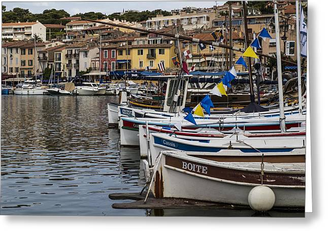 South Of France Harbor Greeting Card by Georgia Fowler