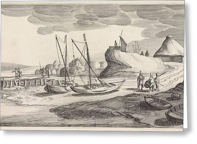 Boats On A River Bank, Jan Van De Velde II Greeting Card