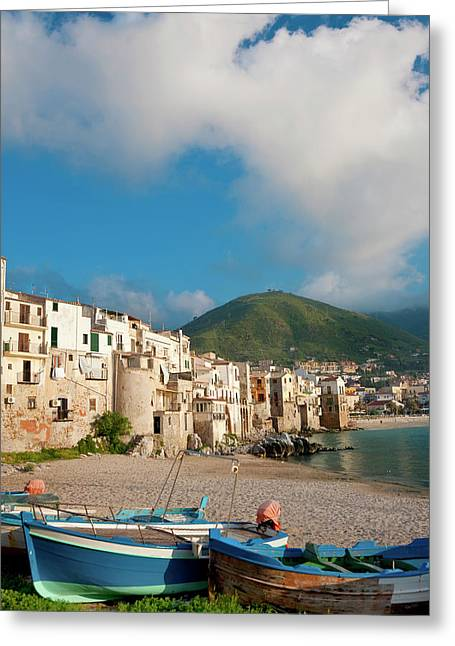 Boats On Beach, Cefalu, N Coast, Sicily Greeting Card by Peter Adams