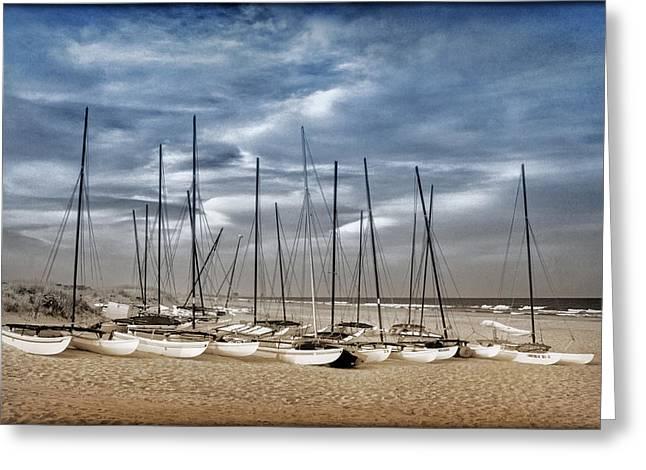 Boats On Beach In Duo-tone Greeting Card by Carolyn Derstine
