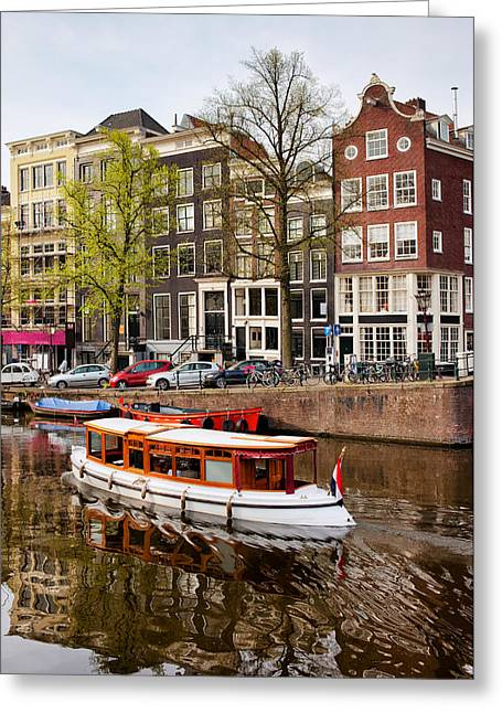 Boats On Canal In Amsterdam Greeting Card by Artur Bogacki