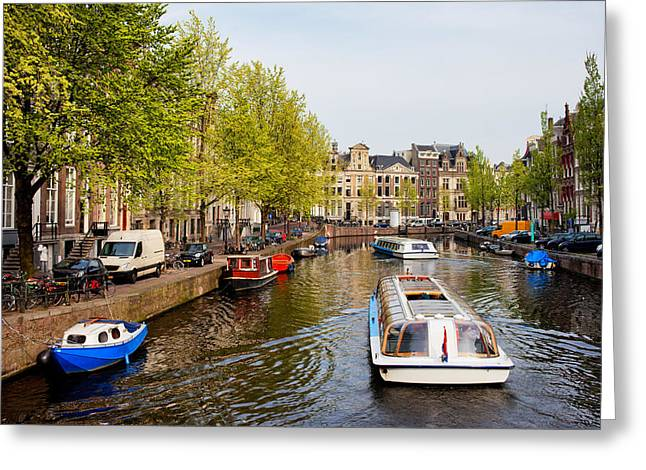 Boats On Canal Tour In Amsterdam Greeting Card by Artur Bogacki