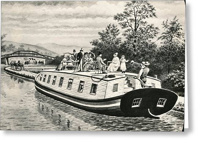 Boats On Erie Canal Greeting Card