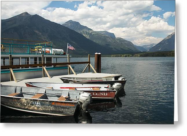 Boats On Lake Mcdonald Greeting Card by Nina Prommer