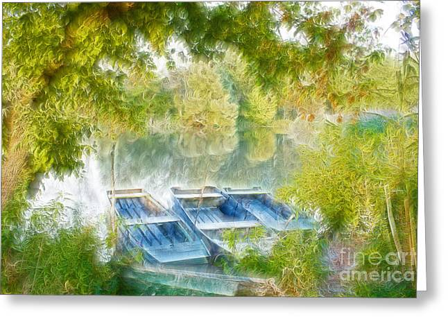 Boats On Shore Of Danube  Greeting Card