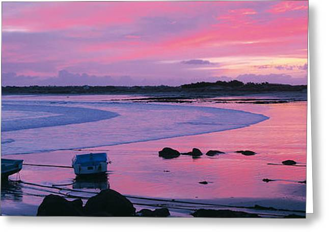 Boats On The Beach At Sunrise, Pors Greeting Card by Panoramic Images