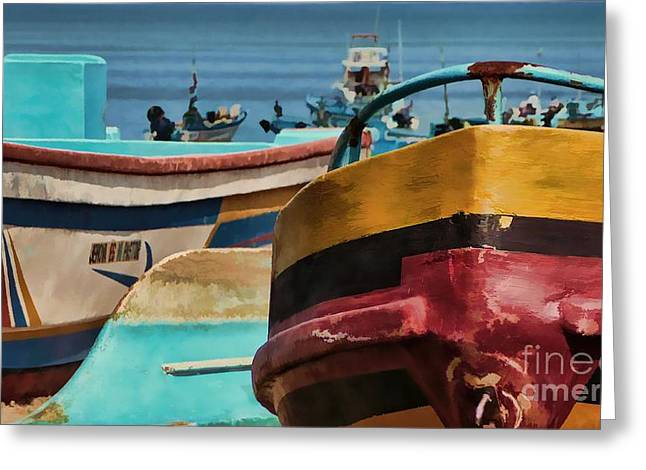 Boats On The Beach - Puerto Lopez - Ecuador Greeting Card