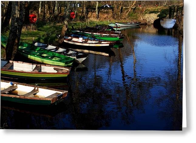 Boats On The River  Greeting Card