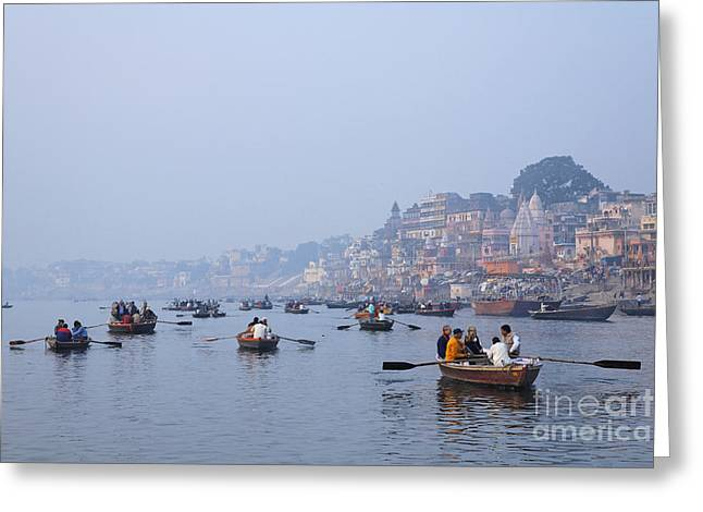 Boats On The River Ganges At Varanasi In India Greeting Card by Robert Preston