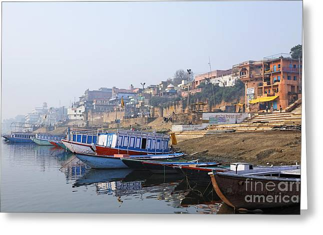 Boats On The River Ganges Varanasi Greeting Card by Robert Preston