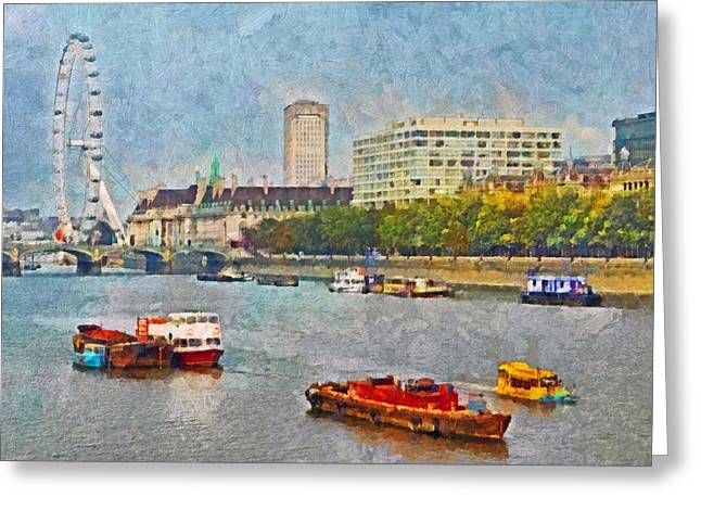 Boats On The River Thames And The London Eye Greeting Card