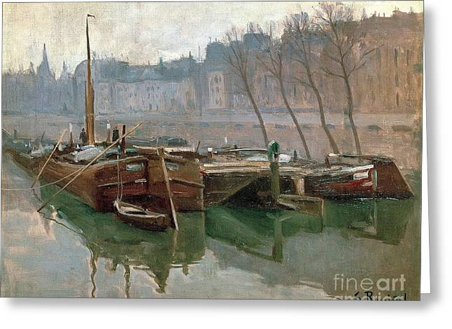 Boats On The Seine Greeting Card by Roberto Prusso
