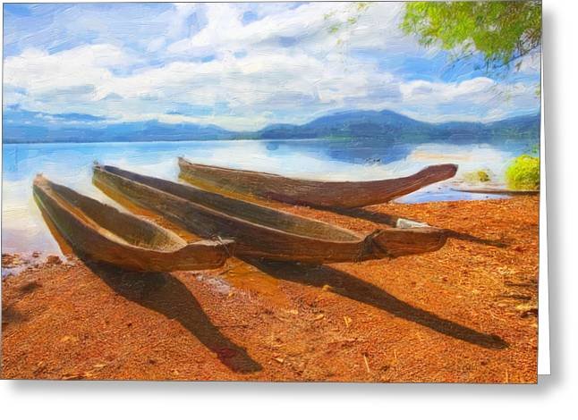 Boats On The Shore Greeting Card