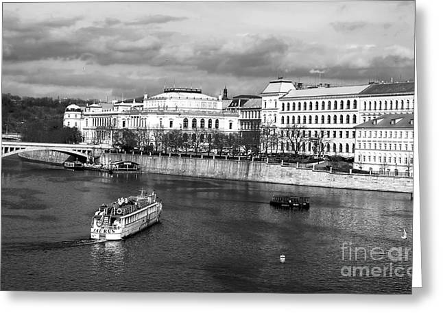 Boats On The Vltava Greeting Card by John Rizzuto
