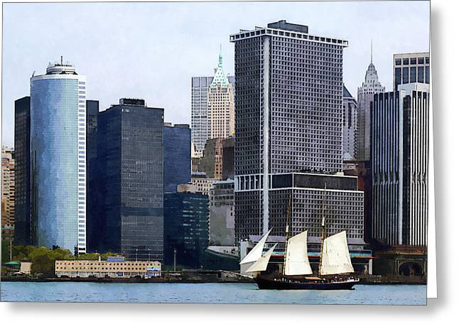 Boats - Schooner Against The Manhattan Skyline Greeting Card by Susan Savad