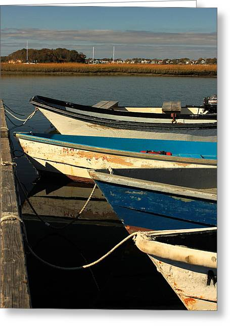 Greeting Card featuring the photograph Boats Waiting by Amazing Jules