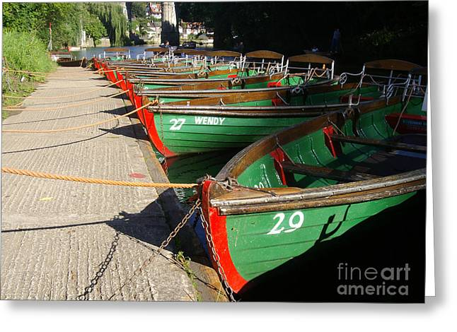Greeting Card featuring the photograph Boats Waiting For Kids by Doc Braham