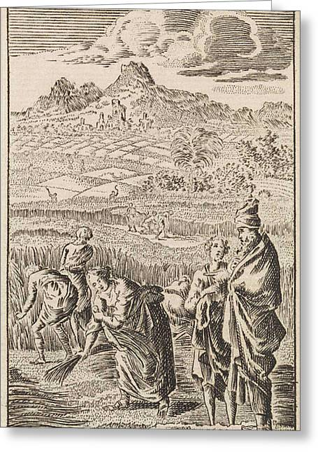 Boaz And Ruth, Jan Luyken, Anonymous Greeting Card by Jan Luyken And Anonymous