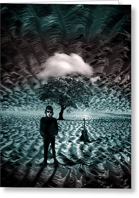 Bob Dylan A Hard Rain's A-gonna Fall Greeting Card by Mal Bray