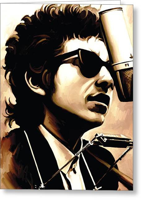 Bob Dylan Artwork 3 Greeting Card by Sheraz A