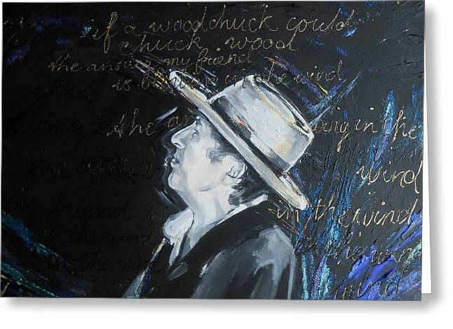 Bob Dylan - Blowing In The Wind Greeting Card by Lucia Hoogervorst