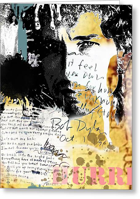 Bob Dylan Greeting Card by Dray Van Beeck