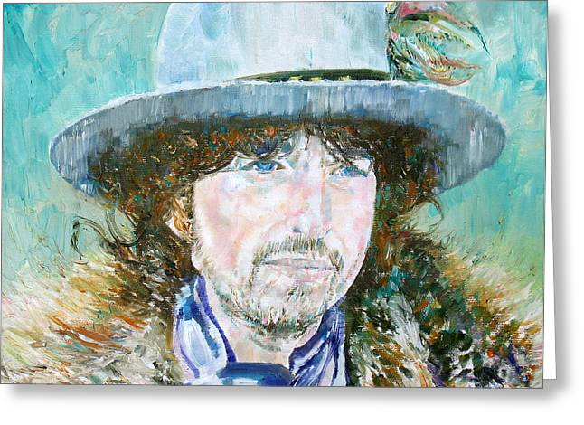 Bob Dylan Oil Portrait Greeting Card by Fabrizio Cassetta