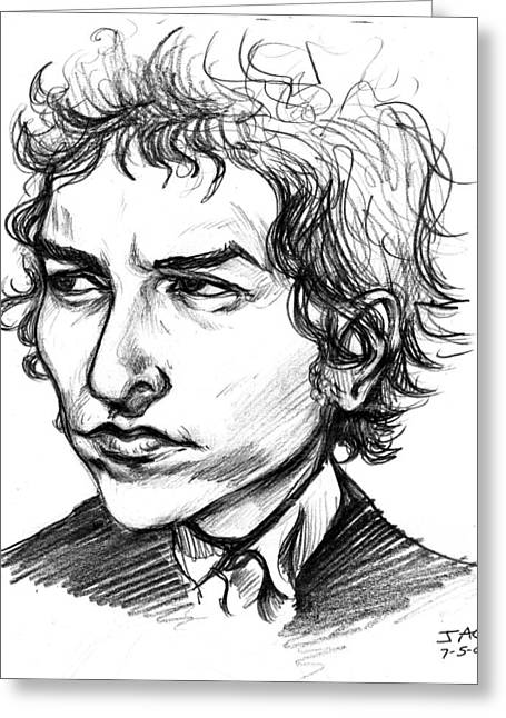 Greeting Card featuring the drawing Bob Dylan Sketch Portrait by John Ashton Golden