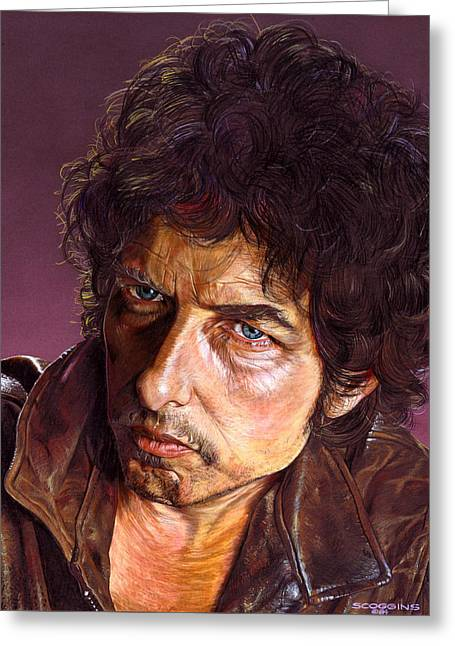 Bob Dylan Greeting Card by Tim  Scoggins