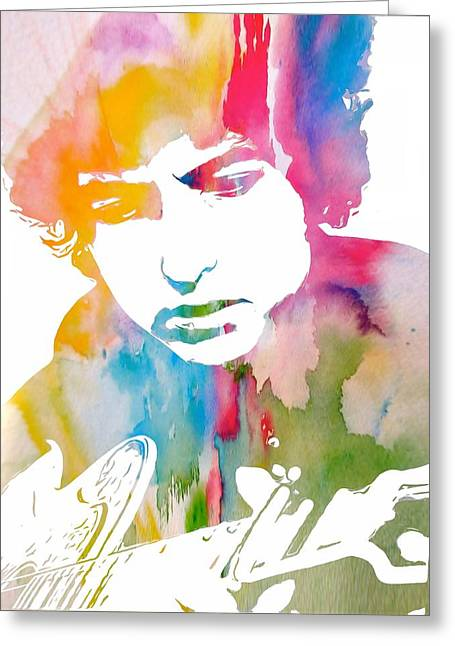 Bob Dylan Watercolor Greeting Card by Dan Sproul