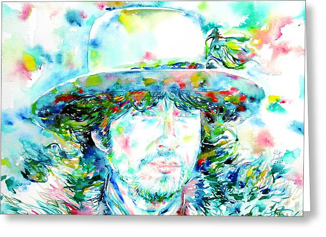 Bob Dylan - Watercolor Portrait.2 Greeting Card by Fabrizio Cassetta