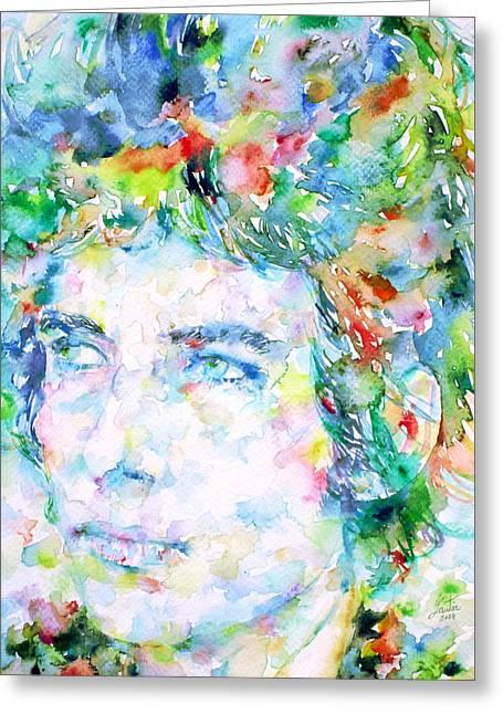 Bob Dylan Watercolor Portrait.3 Greeting Card by Fabrizio Cassetta