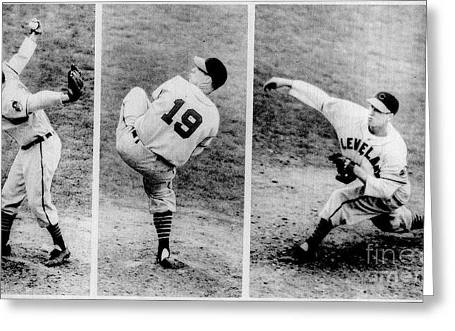 Bob Feller Pitching Greeting Card by R Muirhead Art