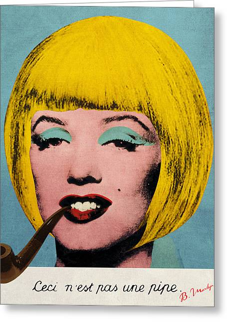 Bob Marilyn  With Surreal Pipe Greeting Card by Filippo B
