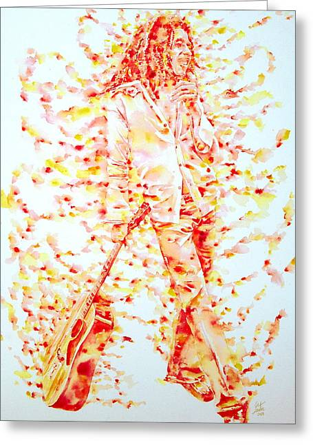 Bob Marley And Guitar - Watercolor Portrait Greeting Card