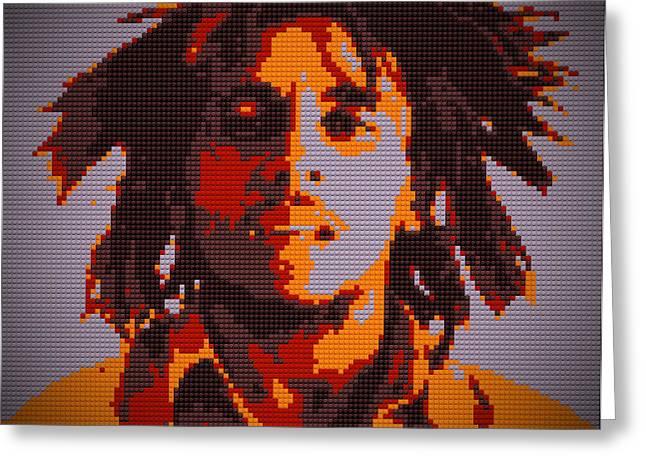 Bob Marley Lego Pop Art Digital Painting Greeting Card by Georgeta Blanaru