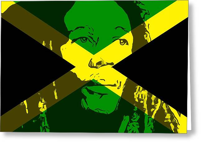 Bob Marley On Jamaican Flag Greeting Card by Dan Sproul