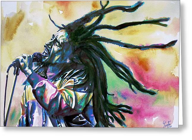 Bob Marley Singing Portrait.1 Greeting Card by Fabrizio Cassetta