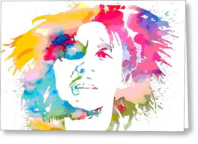 Bob Marley Watercolor Portrait Greeting Card by Dan Sproul