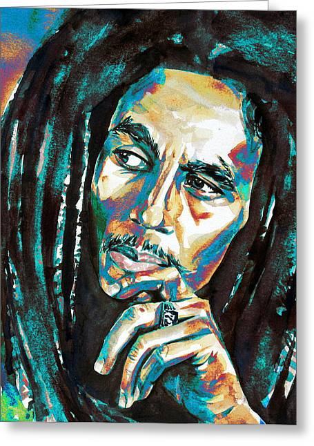 Bob Marley Watercolor Portrait.7 Greeting Card