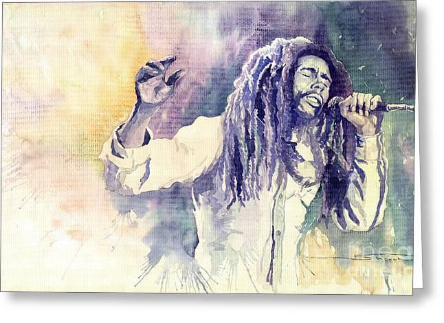 Watercolour Paintings Greeting Cards - Bob Marley Greeting Card by Yuriy  Shevchuk