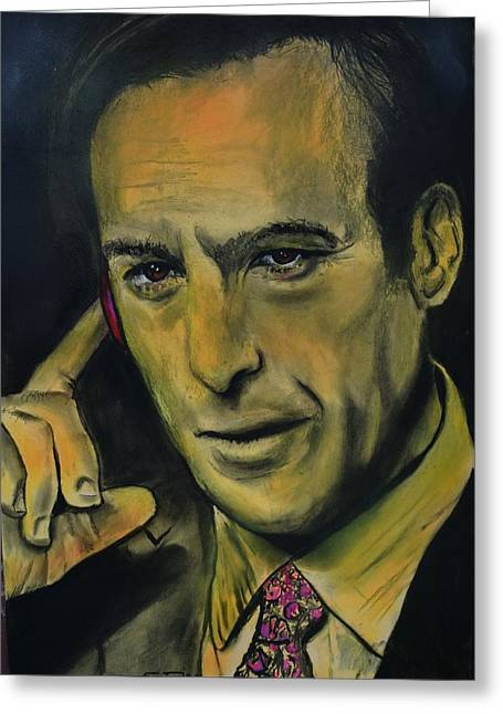 Greeting Card featuring the drawing Bob Odenkirk - Better Call Saul by Eric Dee