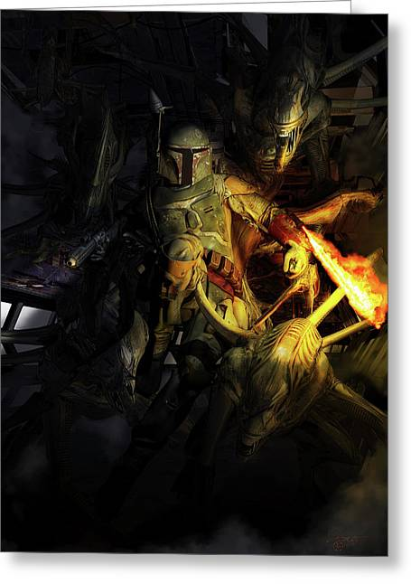 Boba Fett Fighting Off Aliens Greeting Card