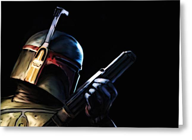Greeting Card featuring the painting Boba Fett by Jeff DOttavio