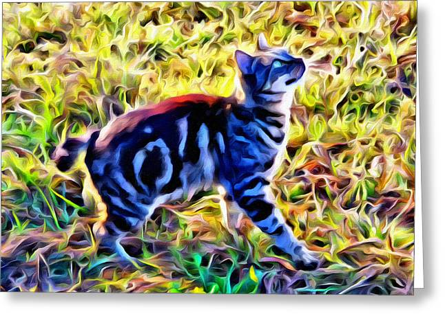 Bobbed Kitty Greeting Card by Alice Gipson