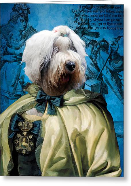 Bobtail - Old English Sheepdog Art Canvas Print Greeting Card
