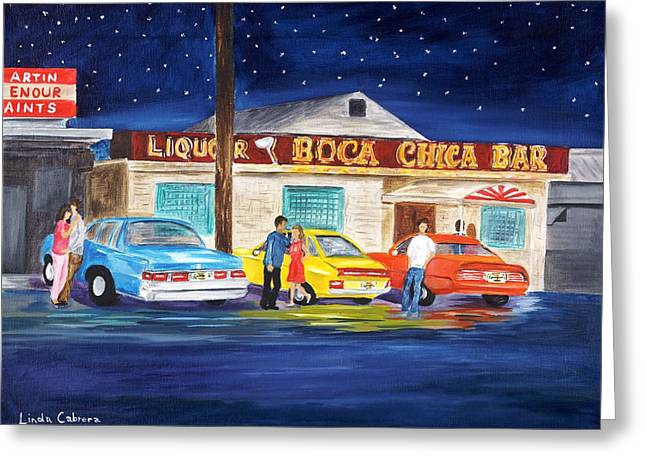 Boca Chica Bar Greeting Card by Linda Cabrera