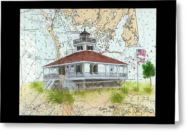 Boca Grande Lighthouse Fl Nautical Chart Map Art Cathy Peek Greeting Card