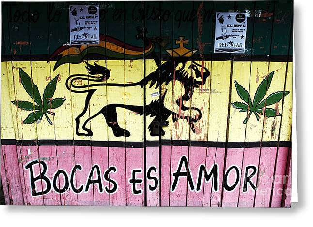 Bocas Es Amor Greeting Card by John Rizzuto