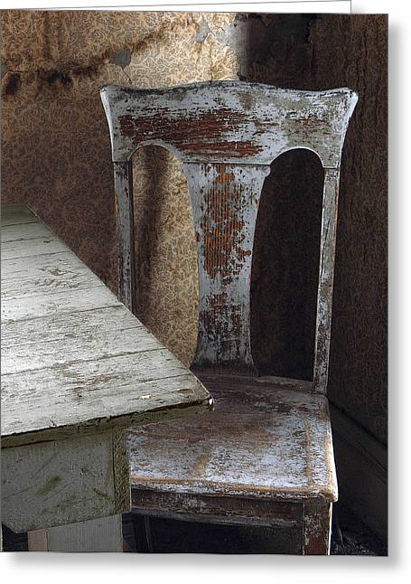 Bodie Chair And Table Greeting Card by David Marr